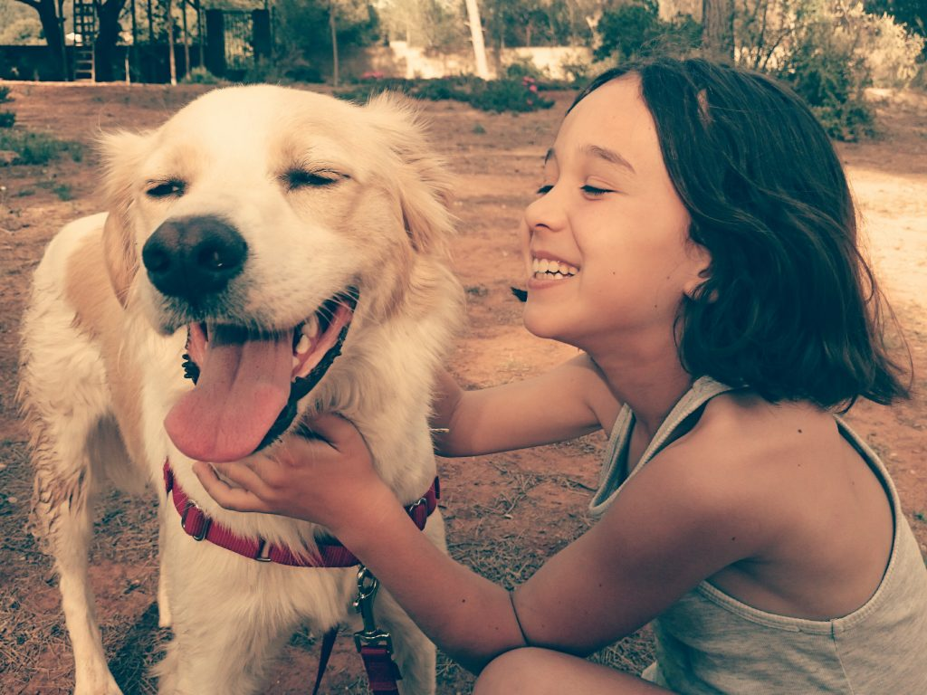 A little girl smiling at a happy dog