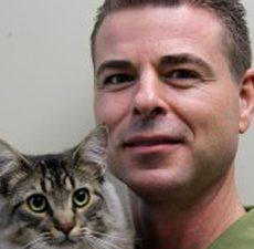 Dr. Allan Donais holding a cat