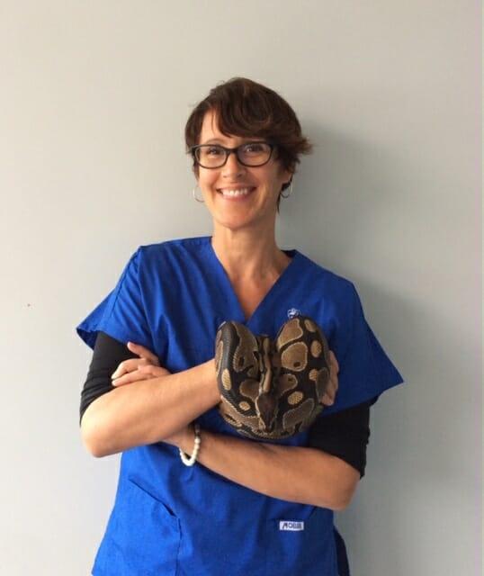 Julia Lohasz holding a snake