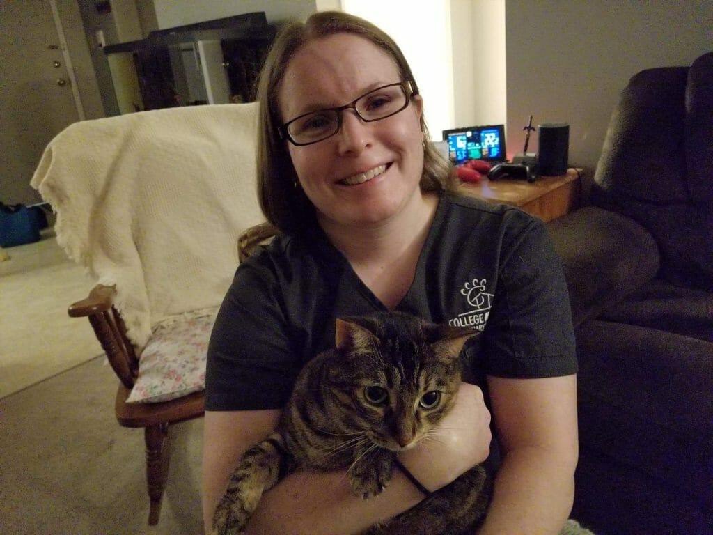 Kristine Fagan holding a cat